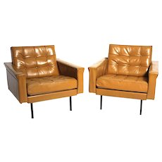 Mid Century Modern Pair of Leather Armchairs by Johannes Spalt c. 1959 Austria