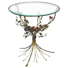 Hollywood Regency Gilded Flower Coffee Table 1950s