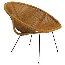 Woven Rattan Club Chair France 1950s