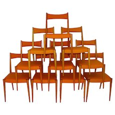 Set of Ten Dining Chairs by Anna Luelja Praun Vienna 1953