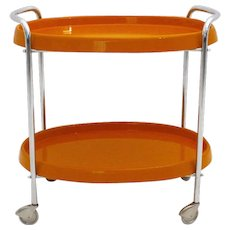 Space Age Orange Plastic Bar Cart 1960s