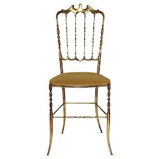 Golden Chiavari Brass Side Chair 1950s Italy