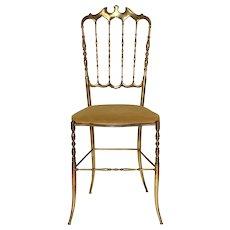 Golden Chiavari Brass Side Chair 1950s Italy