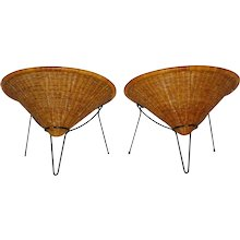 Rattan Club Chairs by Roberto Mango 1950s Italy