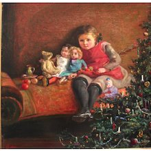 Oil on Canvas Puppenmutter Renerl sitting under the christmas tree 1925