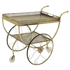 Brass Bar Cart by Svenskt Tenn and attributed to Josef Frank Sweden circa 1960