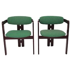 Mid Century Modern Red Brown Vintage Dining Chairs 1970s