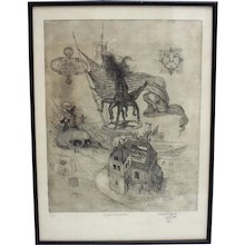 Surrealistic Etching by Manfred Ebster Austria 1966