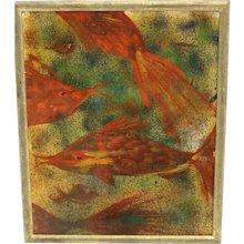 Oil on Carton Mid Century Painting Fishes by Robert Libeski 1946 vienna