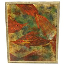 Oil on Carton Mid Century Painting Fishes by Robert Libeski 1946 vienna