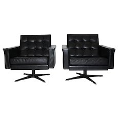 Pair of Black Leather Armchairs by Johannes Spalt circa 1960 Vienna