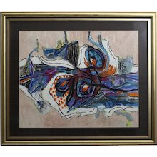 Multicolored Abstract painting by Helmut Hodnik circa 1981