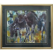 Multicolored Modern Painting Elks by Helmut Hodnik circa 1980