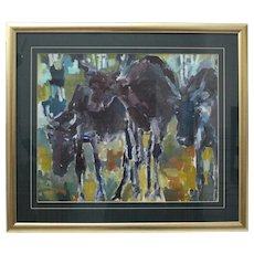 Multicolored Modern Painting Elks by Helmut Hodnik circa 1980