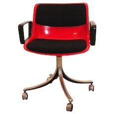 Red Swivel Desk Chair by Osvaldo Borsani 1970s