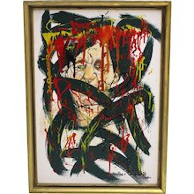 Abstract Painting by Martha von Jungwirth Vienna 1960s