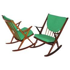 Scandinavian Modern Pair of Beech Rocking Chair by Frank Reenskaug Denmark c. 1960