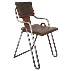 Bauhaus Tabular Steel Chair designed by Peter Behrens circa 1930