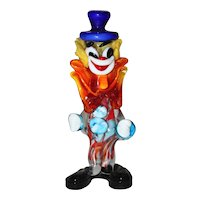 Multicolored Mid Century Modern Murano Glass Clown