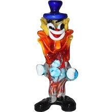 Multicolored Mid Century Modern Murano Glass Clown