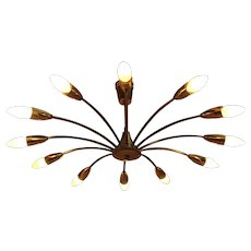 Curved Brass Spider Ceiling Lamp by J. T. Kalmar 1950 Vienna