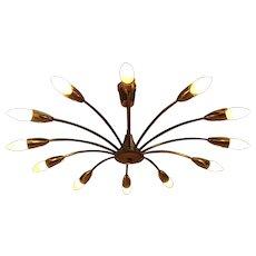 Curved Brass Spider Ceiling Lamp by J. T. Kalmar 1950 Vienna