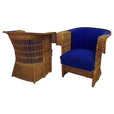 Pair of Wicker Armchairs by Hans Vollmer 1902/03 Vienna for Prag - Rudniker
