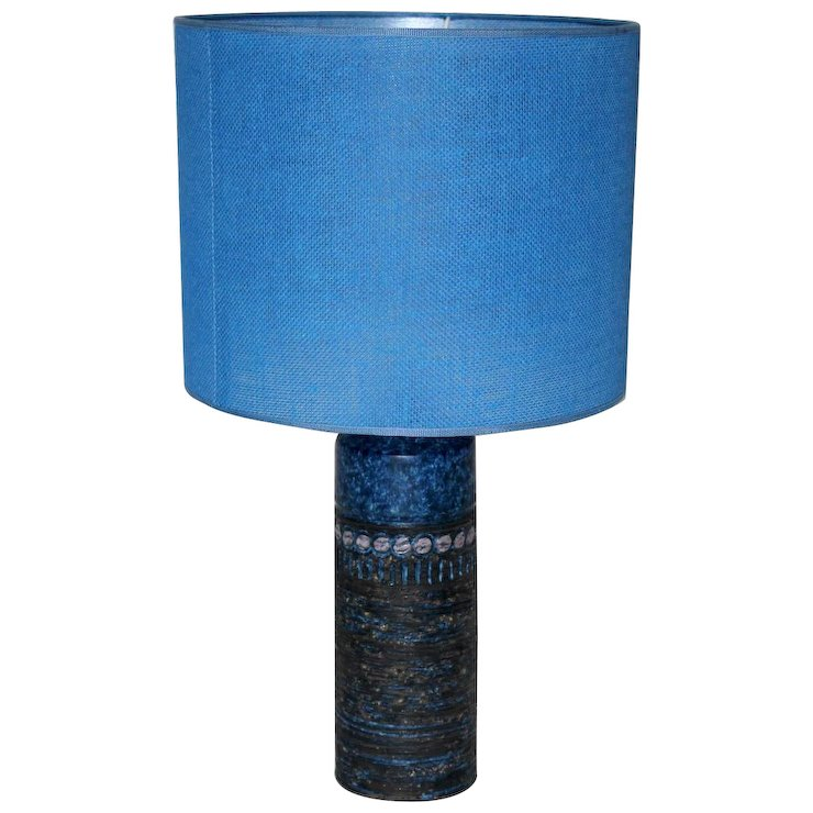 Blue Ceramic Table Lamp 1960s Finland Nobarock Moderne