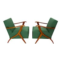 Green Pair of Italian Lounge Chairs 1950s in the style of Carlo Mollino