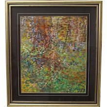 Modern Painting with multicolored dots by Helmut Hodnik 1980