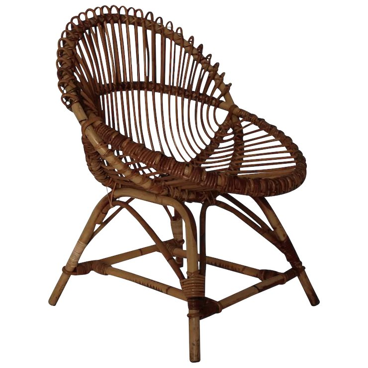 Mid Century Modern Wicker Chair By Janine Abraham U0026 Dirk Jan Rol Attr France 1960