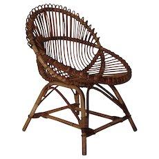 Mid Century Modern Wicker Chair by Janine Abraham & Dirk Jan Rol attr. France 1960´s