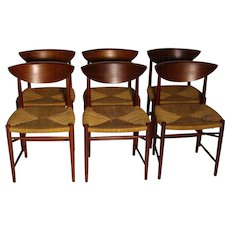 Scandinavian Modern Six Chairs by Peter Hvidt & Orla Moolgard Nielsen Denmark c. 1956