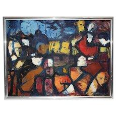 Mid Century Modern Oil Painting 1963