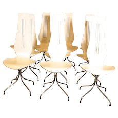 "Mid Century Modern Up to 10 Dining Chairs ""Chaise Lyre"" by Theo Häberli Switzerland 1960"