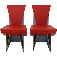 Set of 2 Modern Red and Blue Cardboard Chairs
