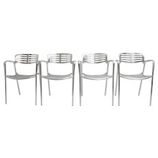 Set of 4 Aluminium Stacking Chairs by Jorge Pensi 1986-1988 Spain