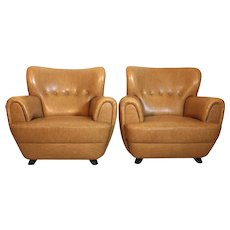 20th Century A Pair of Club Chairs by Guglielmo Ulrich Italy 1940´s