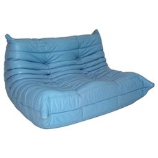 Blue Leather Love Seat Togo by Michel Ducaroy 1974 and executed by Ligne Roset 1980s