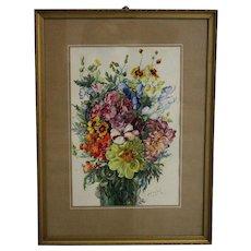 Painting Wildflowers by Emil Fiala Vienna 1930s