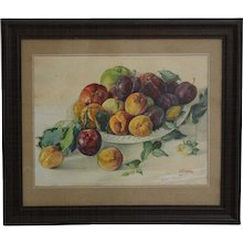Painting Fruits by Emil Fiala Vienna 1930s