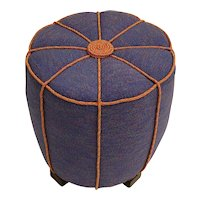 Blue Art Deco Pouf or Stool Austria 1930s