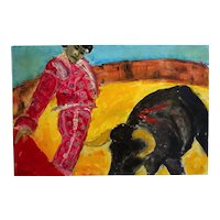 Modern Oil Painting Bull Fight