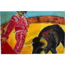 Modern Oil Painting Bull Fight
