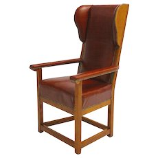 Biedermeier Solid Cherrywood Wingback Chair circa 1830 Austria