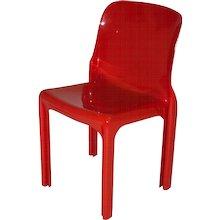"Red Fiberglass Chair ""Selene"" by Vico Magistretti 1968"