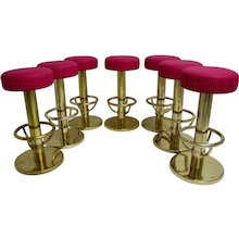Set of Seven Polished Brass Barstools 1960s