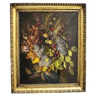 Painting Autumn Leaves Bouquet by Emil Fiala Vienna 1930s