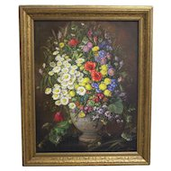 """Oil on Canvas Painting """"Wildflowers"""" by Emil Fiala Vienna 1930s"""