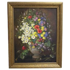 "Oil on Canvas Painting ""Wildflowers"" by Emil Fiala Vienna 1930s"
